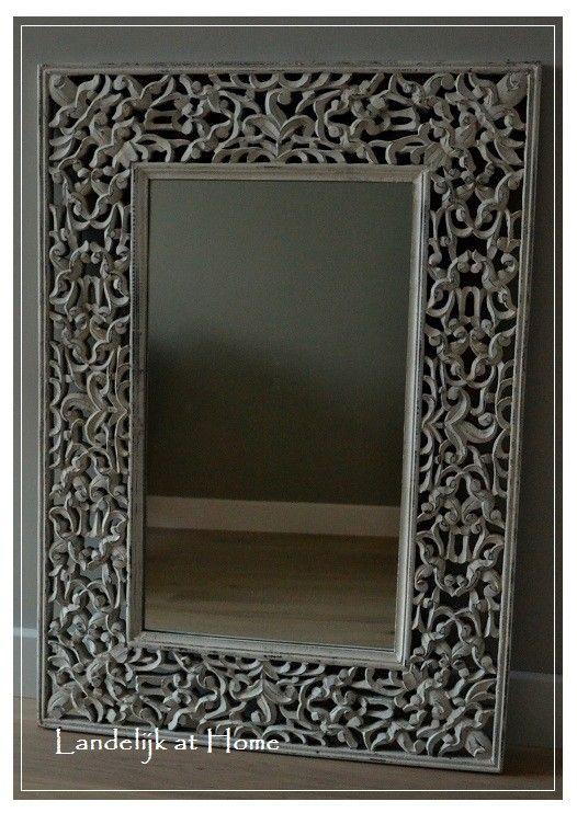 Prachtige landelijk brocante spiegel `Lelie French`   ~ Spiegels   Landelijk at Home