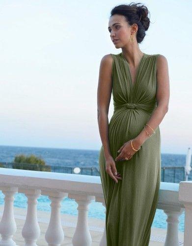 Khaki Green Knot Front Maternity Maxi Dress   Seraphine