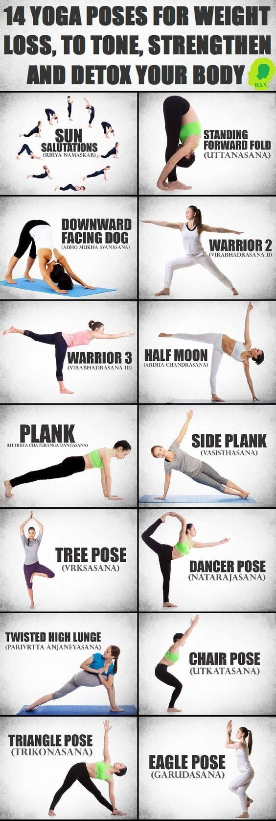 14 Yoga Poses for Weight Loss, To Tone, Strengthen and Detox Your Body http://www.erodethefat.com/blog/yoga-burn/