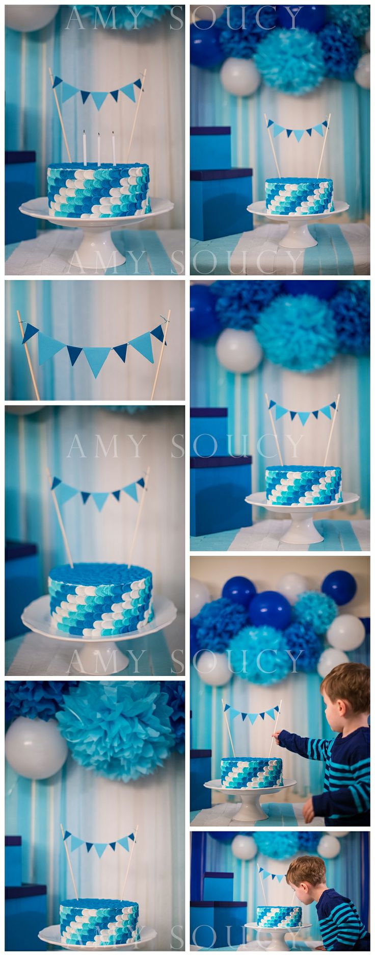 Toddler Boy Blue Birthday Cake. Ombre Blues. asoucy.com