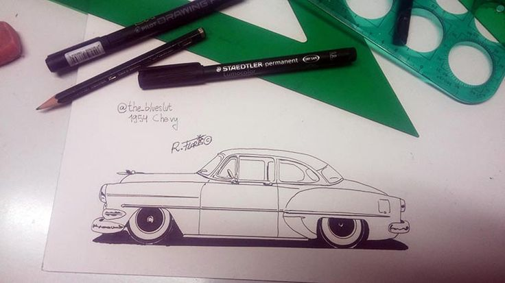 New #inktober2015 day 15 #doodle of a #1950s #Chevy #custom #hotrod. Inspired by a pic of @the_bruceslut at Instagram.