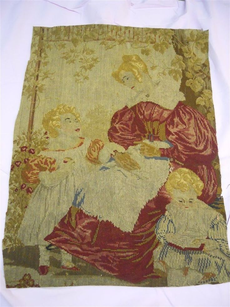 PETITPOINT AUBUSSON TAPESTRY ANTIQUE FRENCH 19TH-CENTURY   CHATEAU  PERSONAGES