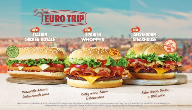Burger King UK purportedly offers a taste of Europe with their Euro Trip Burgers.