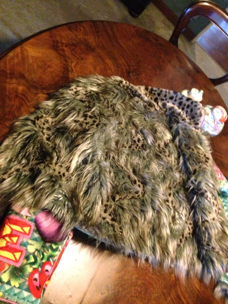 #Custo Wolf and ocelot faux fur jacket and iridescent fabric (inside)