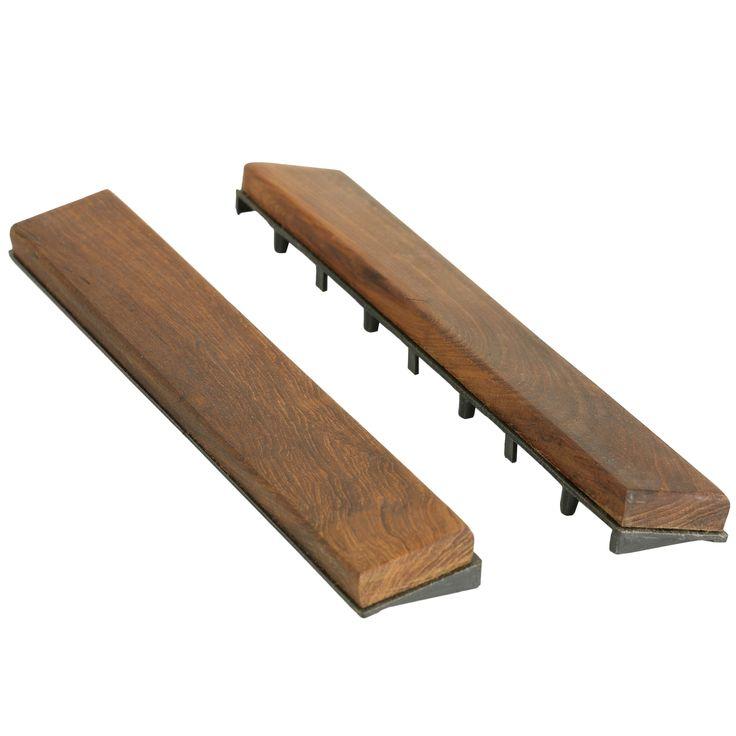 Bare Decor EZ-Floor Interlocking Flooring Tiles in Solid Teak Wood (Set of 10) (Brown End Pieces)
