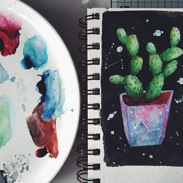 Got some cheap gouache paints to try out. First time playing with gouache - LOVE it.  .  .  .  #art #artjournal #artoftheday #doodlesofinstagram #doodles #doodle #doodleart #sketchbook #watercolor #gouache #gouachepainting #painting #planner #plannerworld #plannerlove #creativejournal #cactus #cactus🌵 #galaxy #手帐 #手帳 #drawing
