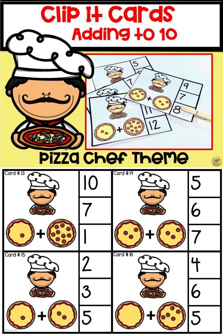 Clip It Cards Adding To 10 Pizza Chef Themed Math Facts Small Groups Math [ 1102 x 735 Pixel ]
