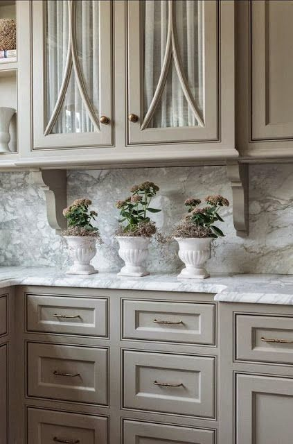 taupe beige painted kitchen cabinets