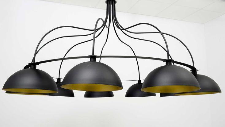 Lámpara circular metálica  200cm con pantallas medias esferas 30cm negra