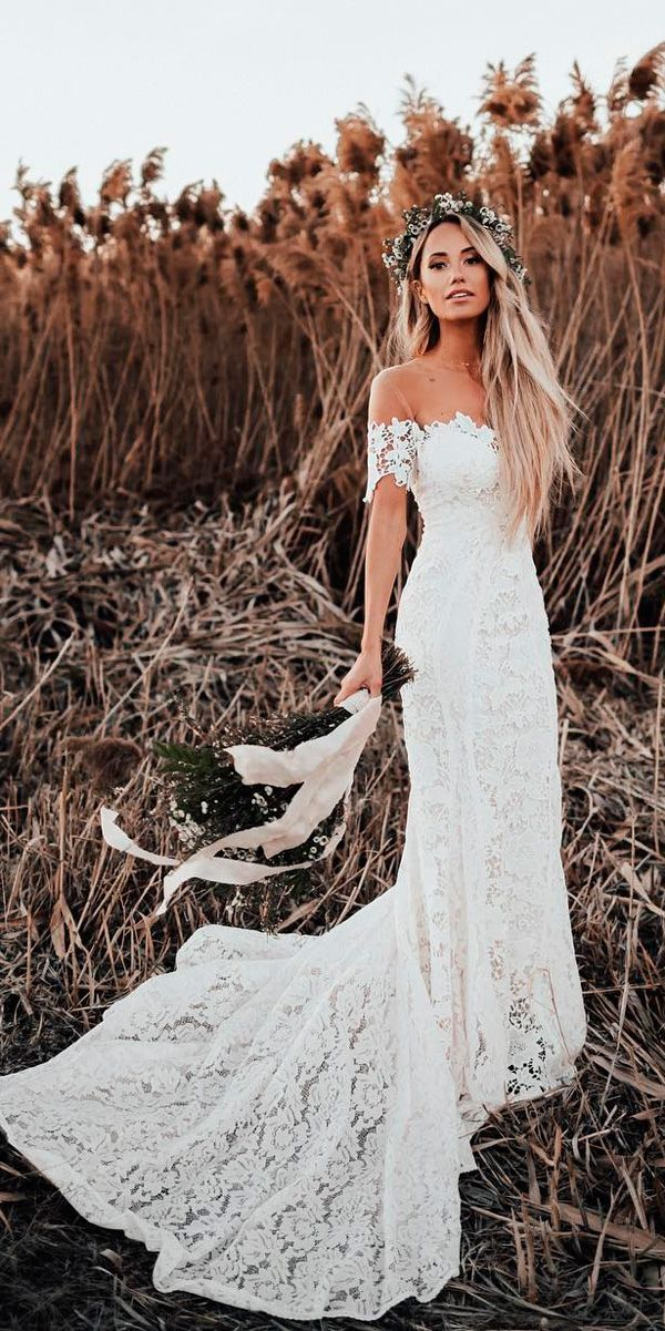 30 Bohemian Wedding Dress Ideas You Are Looking For ❤ lace sheath off the shoulder sweetheart neck with train bohemian wedding dress lover sx society ❤ See more: http://www.weddingforward.com/bohemian-wedding-dress/ #weddingforward #wedding #bride