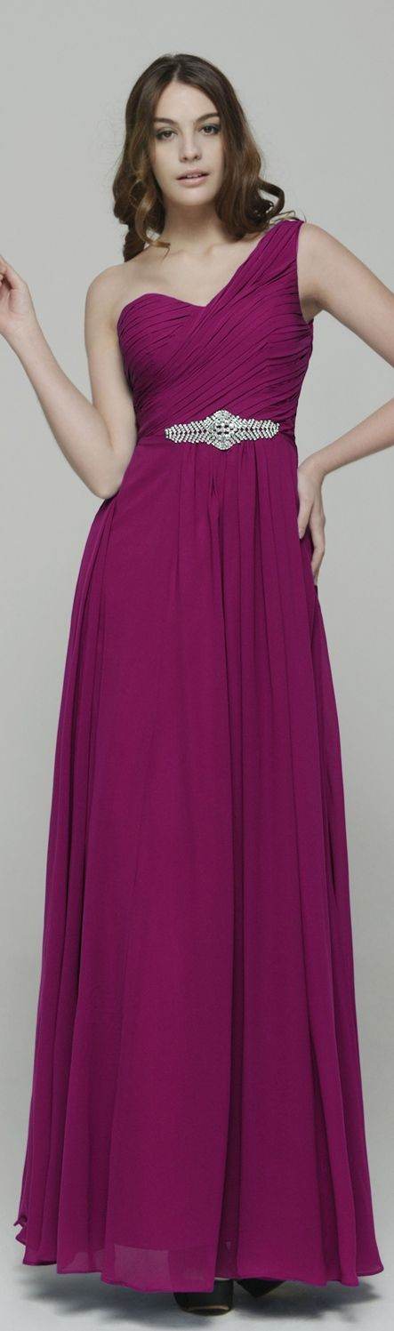 one shoulder sweetheart magenta bridesmaid dresses