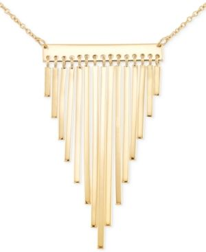 Sis by Simone I Smith Fringe Bar Statement Necklace in 18k Gold Over Sterling Silver - Gold