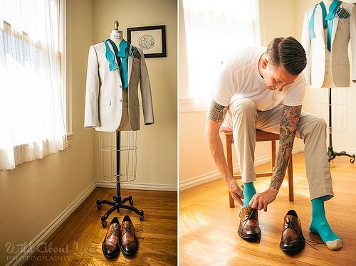 Grooms getting ready are just as gorgeous as brides | Offbeat Bride  - Nice photos of my man and the guys getting ready, too!  The Groom is after all a King for a Day, just as I am Queen!