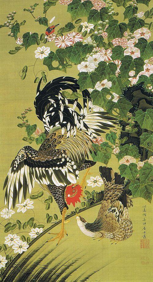 伊藤若冲 芙蓉双鶏図 1760年頃