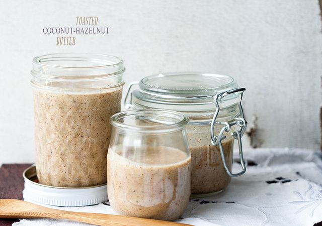 Toasted Coconut-Hazelnut Butter by top with cinnamon