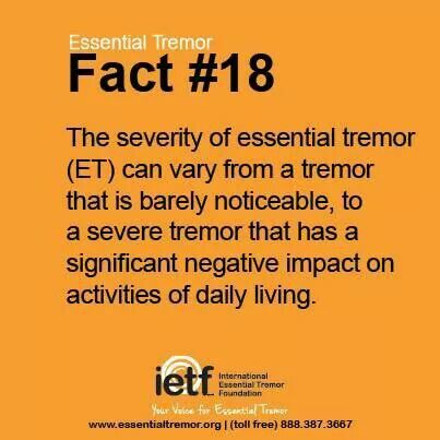 Essential Tremor (ET) facts. (Sometimes ET is hidden out of embarrassment)