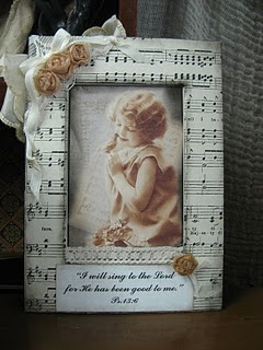 """Tea Bag Rose Tutorial picture frame for Ginny! Bible verse says """"I will sing to the Lord for He has been good to me."""""""