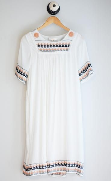 White short sleeve embroidered midi dress. Fully Lined. Fits loose. 100% Rayon Handwash
