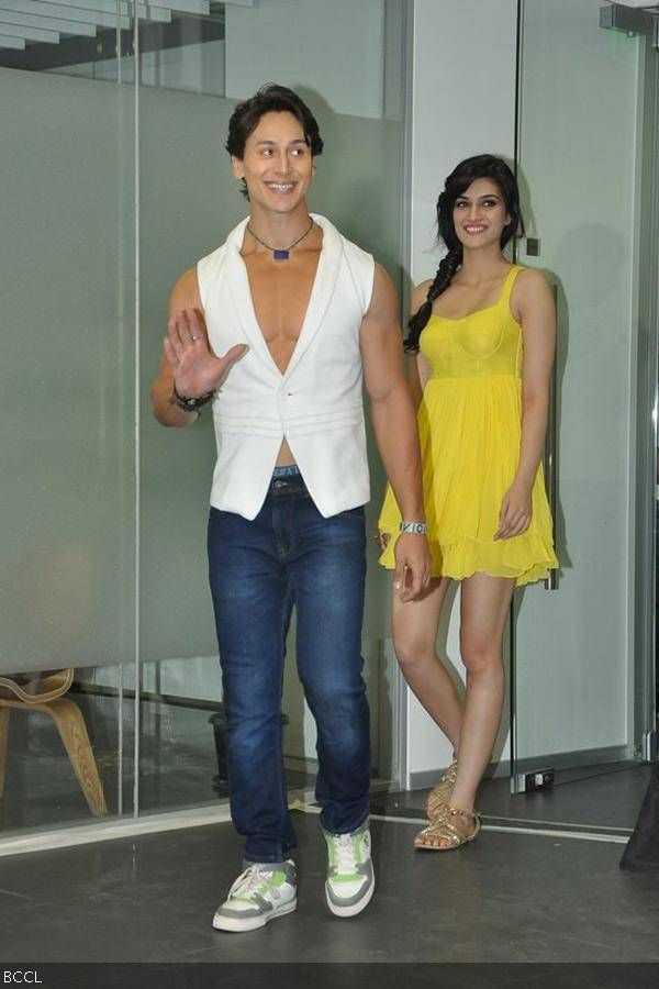 Tiger Shroff and Kriti Sanon during the music launch of the movie Heropanti in Mumbai.