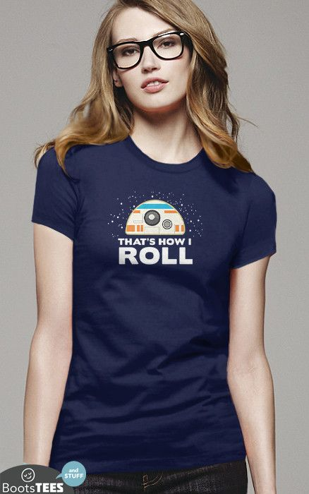 Funny Star Wars The Force Awakens BB-8 T-Shirt | Funny Geek Shirt | Men's, Women's and Kid's Sizes. Available from Boots Tees. (pictured: women's navy tee)