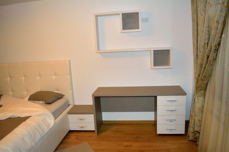 Mobilier Birou Dormitor Pal U727ST22 si W1000ST22 Gri Piatra
