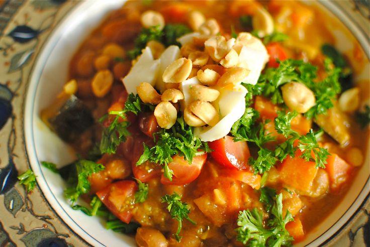 Warmly Spice Peanut, Sweet Potato and Black Eye Pea Stew