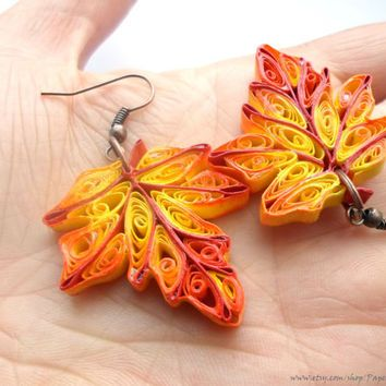 "Quilled Earrings ""Hello, autumn"", Fall Earrings, Autumn Jewelry, Woodland Jewelry, Maple leaf Dangle Earrings, paper quilling"