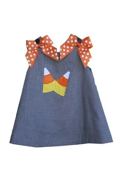 Personalized Applique Candy Corn Dress Gingham (Different Color Options)-baby boutique halloween clothing, baby halloween outfits, infant halloween outfit, baby candycorn outfit,baby halloween clothing, toddler halloween clothing, pst designs