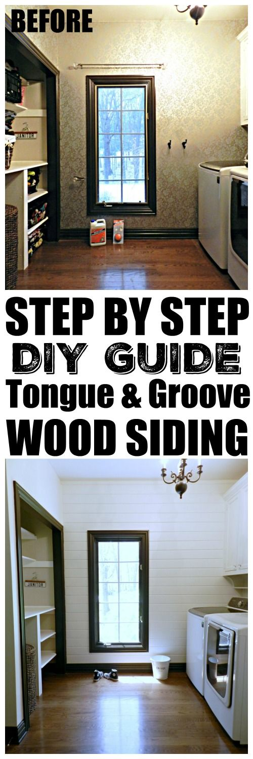 This laundry room makeover is a must see! She included a DIY Wood Tongue-and-Groove Siding Wall tutorial that is very easy to follow.
