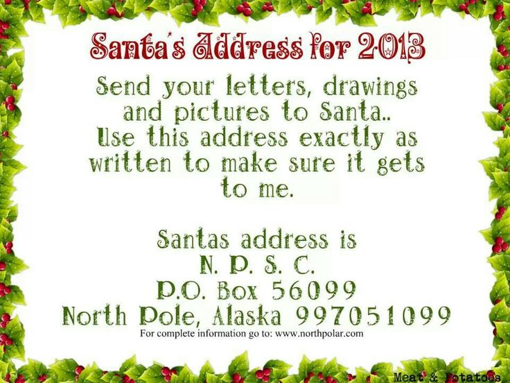 Santas address...the kids got letters from Santa and nice list certificates in the mail today!