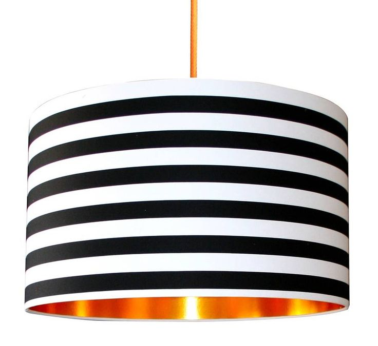 Circus Stripes Monochrome Lampshade With Gold Lining