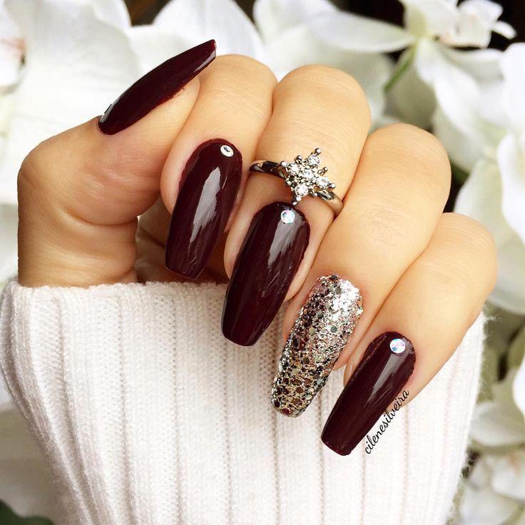 oxblood nails with crystal + glitter accent nail, knucke ring | fall nail art @cilenesilveira Nail Design, Nail Art, Nail Salon, Irvine, Newport Beach