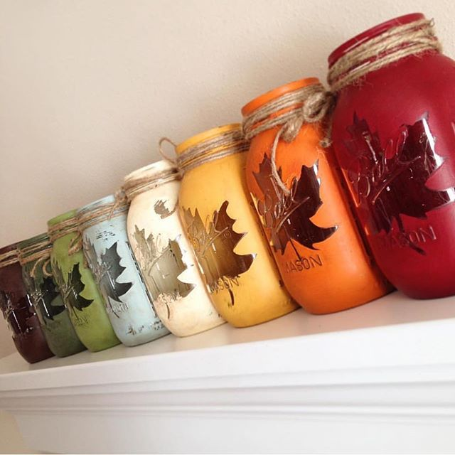 Chalky Finish for Fall! These mason jars from @thepinkpineconestudio show off…