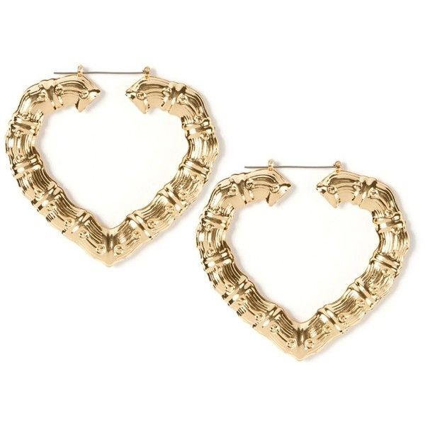 Large Gold Heart Shaped Bamboo Hoop Earrings | Icing ($7.50) ❤ liked on Polyvore featuring jewelry, earrings, accessories, bamboo heart earrings, yellow gold heart earrings, bamboo earrings, earrings jewelry and gold heart jewelry