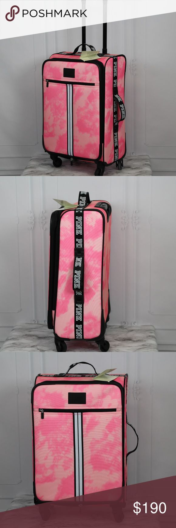 """VS PINK VACAY WHEELIE SPINNER SUITCASE TIE DYE VICTORIA'S SECRET PINK LIMITED EDITION - SOLD OUT Pink TIE DYE VACAY 360 SPINNER SUITCASE New with some tags (missing price tag) -Has Scuff on back handle (See picture 5)  - OPEN TO A REASONABLE OFFER!   Dimensions: 21"""" Long x 14.25 Wide x 7"""" Height  -Four 360 Spinning Wheels -Expandable Main Compartment -Retractable Handle System -Exterior Pocket for last minute ideas -Top & Side Handles for easy lifting  Check out my other items. If you have…"""