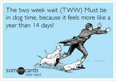 When dealing with infertility it seems you live in 2 week intervals...2 weeks for positive pregnancy test, then 2 weeks until ovulation. Feels like forever! #infertilityhumor