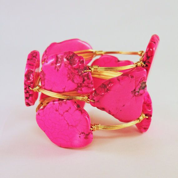 Dark Fuchsia Turquoise and Gold Wire Bangle