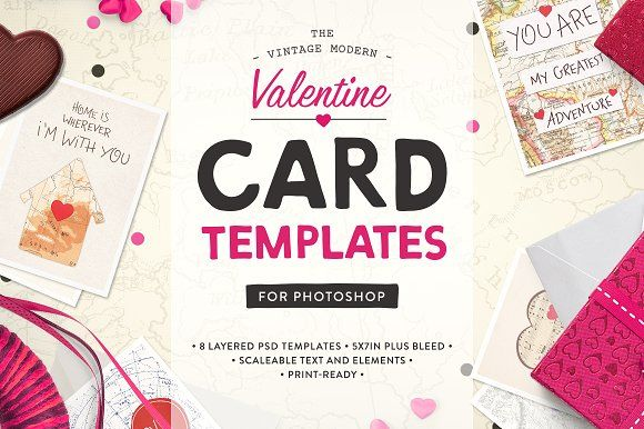 Valentine Card Templates (PS) by Greta Ivy on @creativemarket