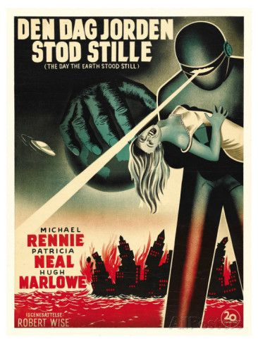 1963 movie poster & still | The Day The Earth Stood Still, Danish Movie Poster, 1951 Giclee Print