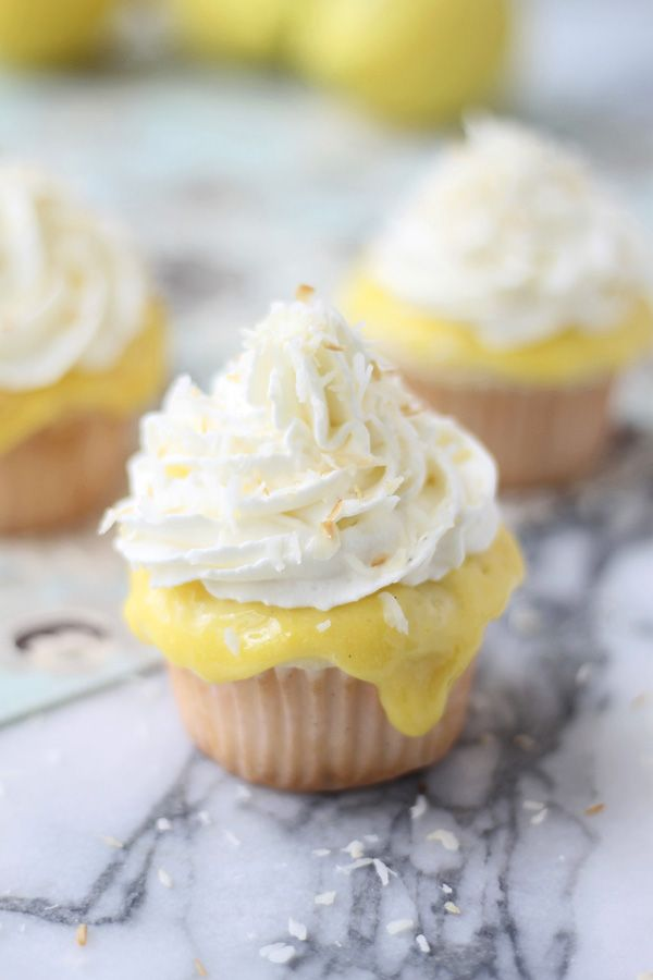 Coconut Cupcakes with Lemon Curd, Vanilla Whipped Cream & Toasted Coconut