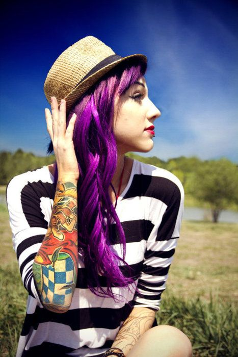 purple hair and a tat sleeve *heart*: Purple Hair, Hairstyles, Tattoo Sleeve, Hair Colors, Haircolor, Purplehair, Violets, Hair Style, Colors Hair