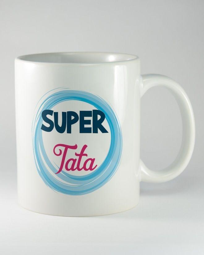 """Kubek ceramiczny z napisem """"SUPER TATA"""". Wyjątkowy prezent z nadrukiem dla taty, został zaprojektowany na takie okoliczności jak dzień ojca, urodziny, imieniny lub święta."""
