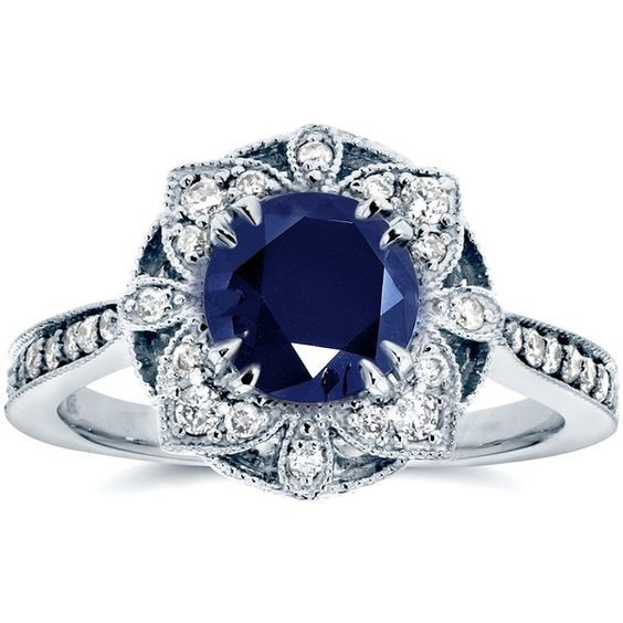 Antique Floral Sapphire and Diamond Engagement Ring 1 1/2 Carat (ctw)… found on Polyvore featuring jewelry, rings, sapphire ring, 14k white gold ring, antique sapphire ring, round cut engagement rings and vintage engagement rings
