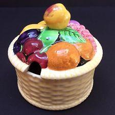 Carlton ware fruit basket, large sugar bowl and lid
