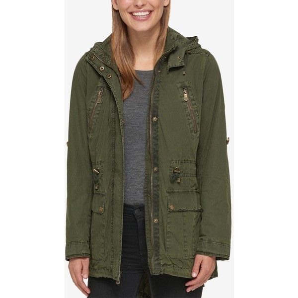 Levi's Hooded Utility Jacket ($100) ❤ liked on Polyvore featuring outerwear, jackets, army green, olive green hooded jacket, hooded jacket, green military jackets, olive green jackets and olive green utility jacket