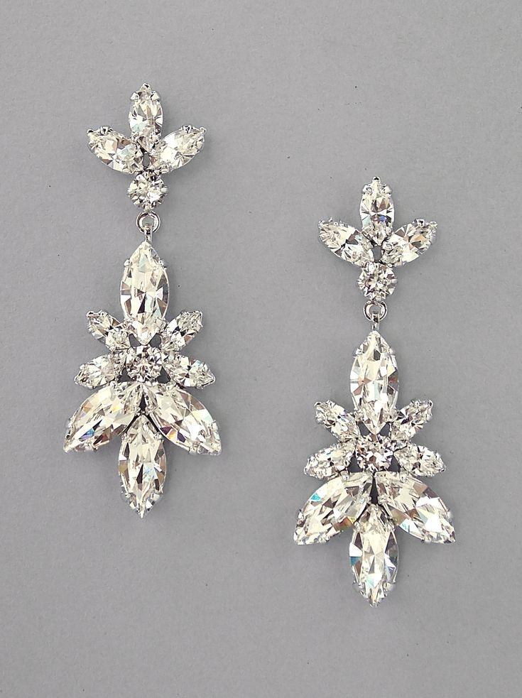 CLAUDIA - Leaf Crystal Chandelier Earrings