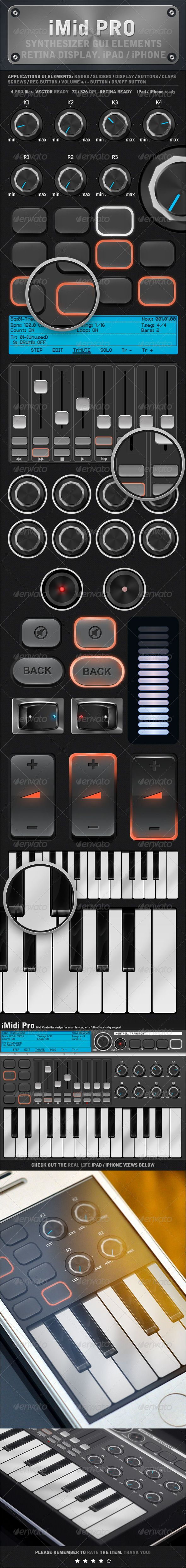 DescriptioniMidi PRO / iPhone UI Elements is the last out of 3 UI versions upcoming next. The gorgeous iMidi PRO is the perfect