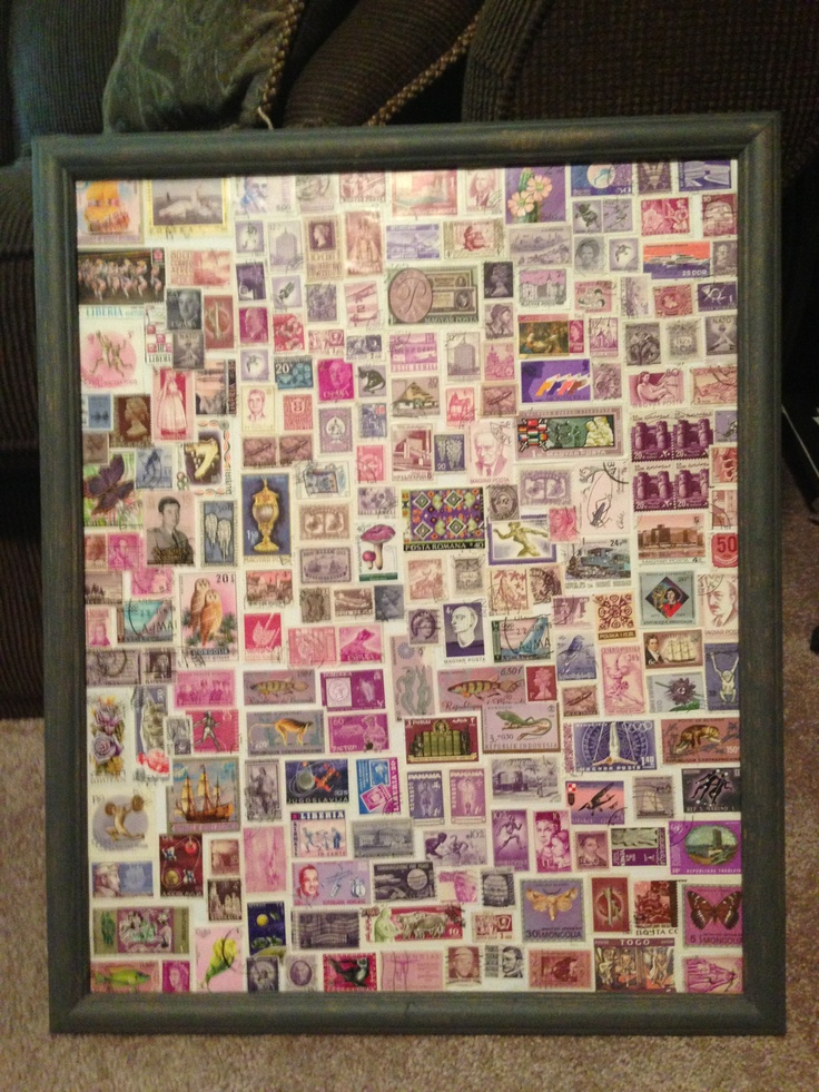 Stamp collage. Frame is an old one from thrift store I painted gray