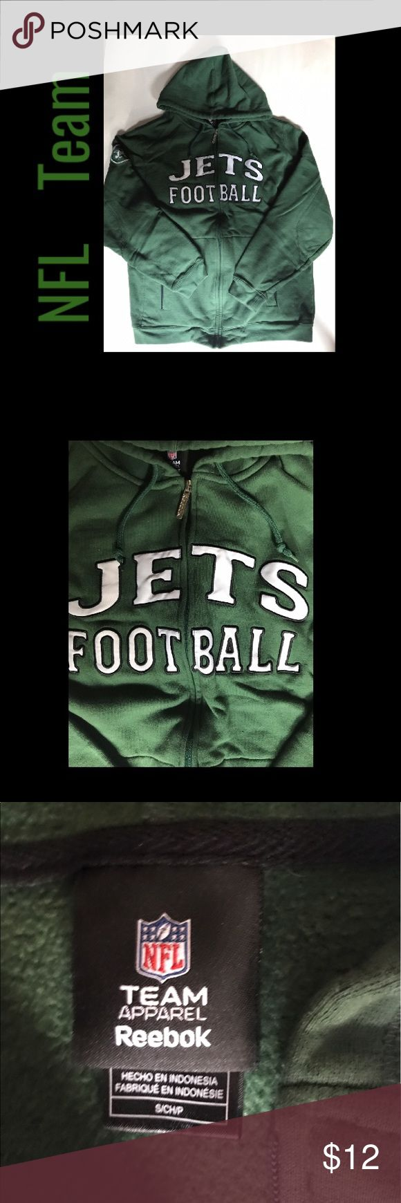 Jets Hoodie J-E-T-S! An NFL Team Apparel by Reebok. Long Sleeved Hoodie. Full zip. Fleece lining. Team logo on chest and right sleeve. Left sleeve it says company name. Excellent condition. Clean. Minimally worn. Reebok Shirts Sweatshirts & Hoodies