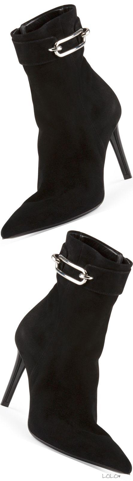 Balenciaga Suede Buckle-Strap Ankle Boot, Noir
